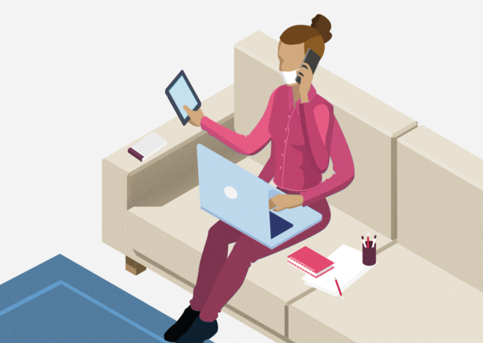 An illustration of masked woman on a couch with three arms using a laptop, phone, and tablet all at once.