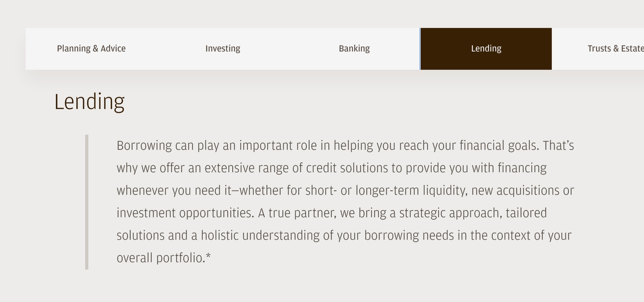 J.P. Morgan Private Bank Lending web page with introduction about the service and its benefit to client financial goals.
