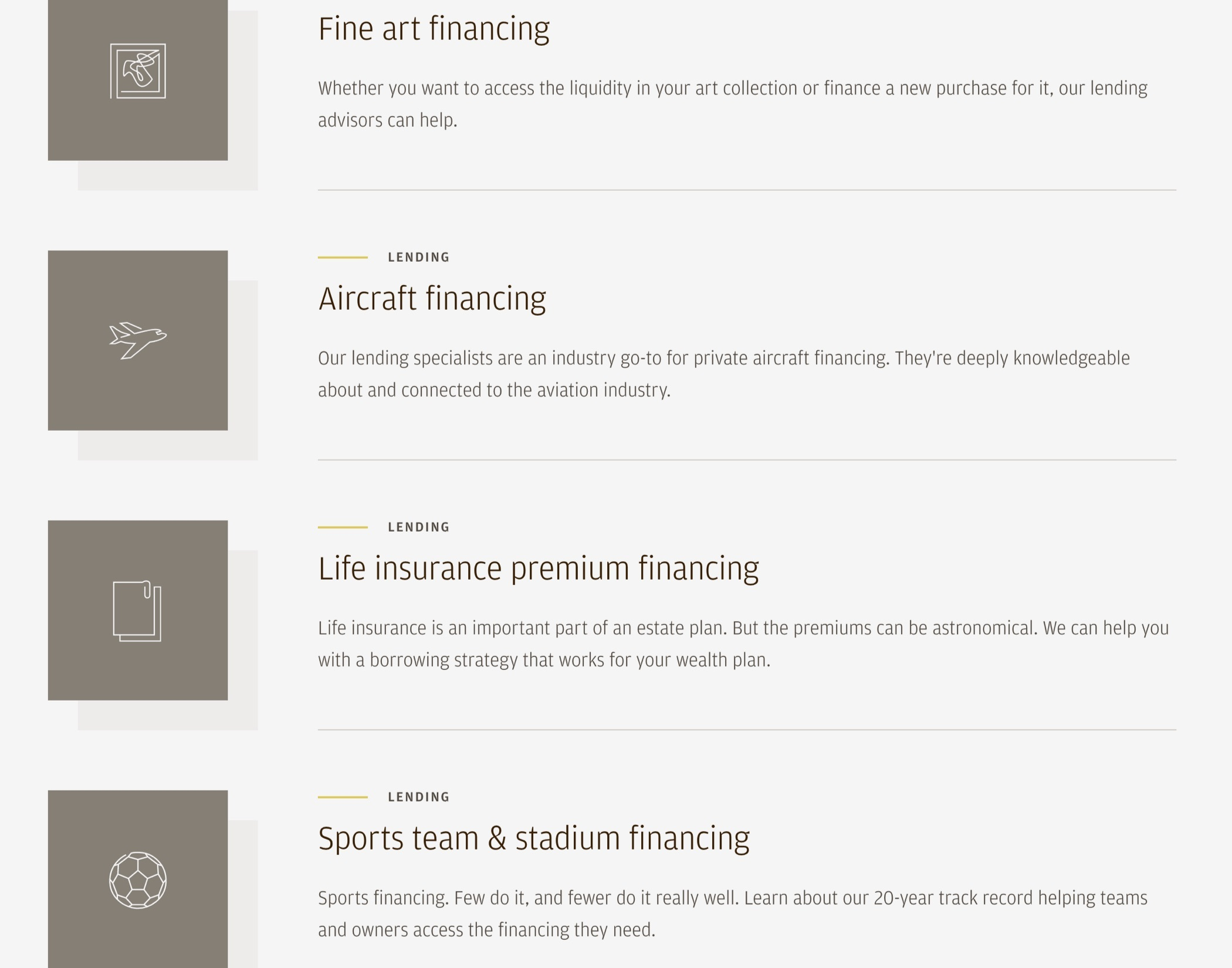 J.P. Morgan Private Bank Lending web page section listing specialty lending services, including fine art and aircraft financing.
