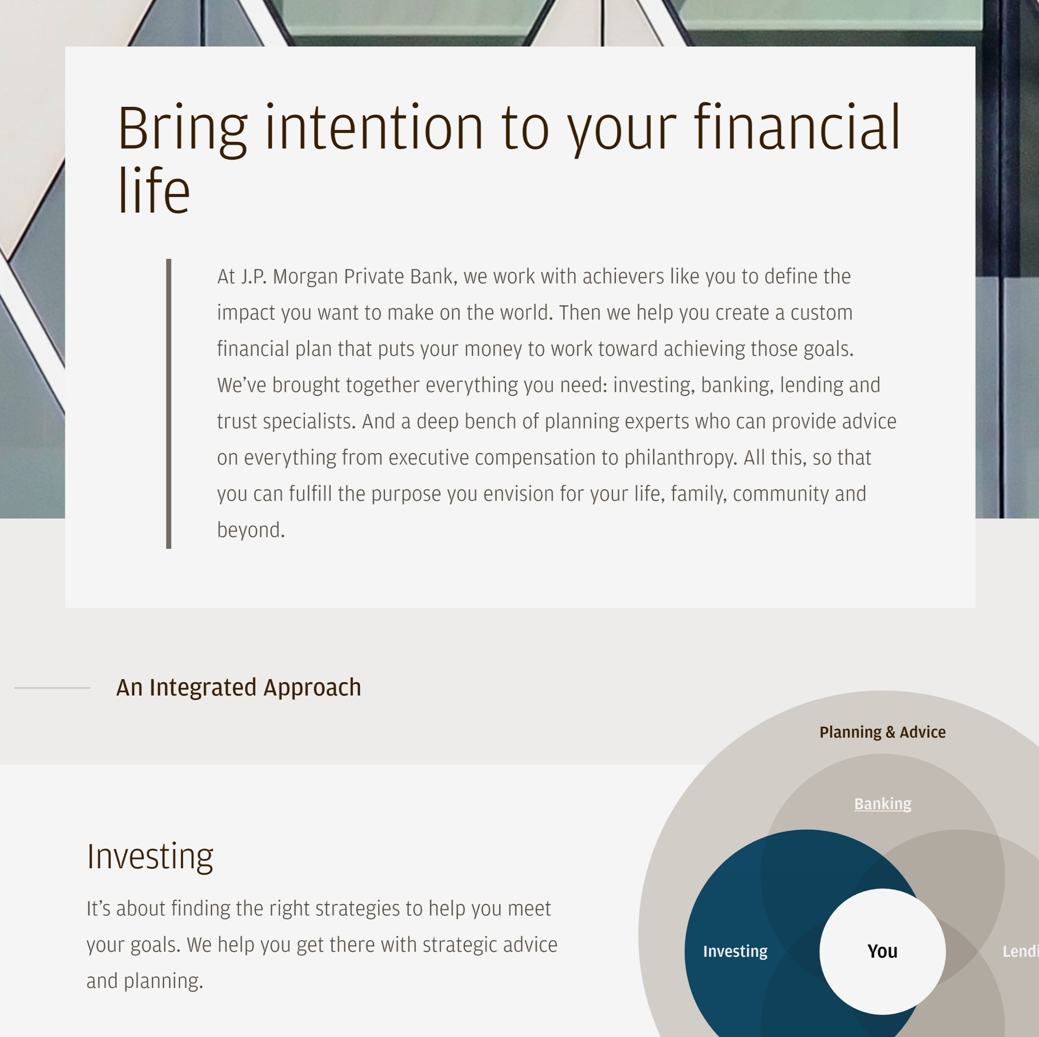 """J.P. Morgan Private Bank Services web page with headline """"Bring intention to your financial life"""" and investing infographic."""