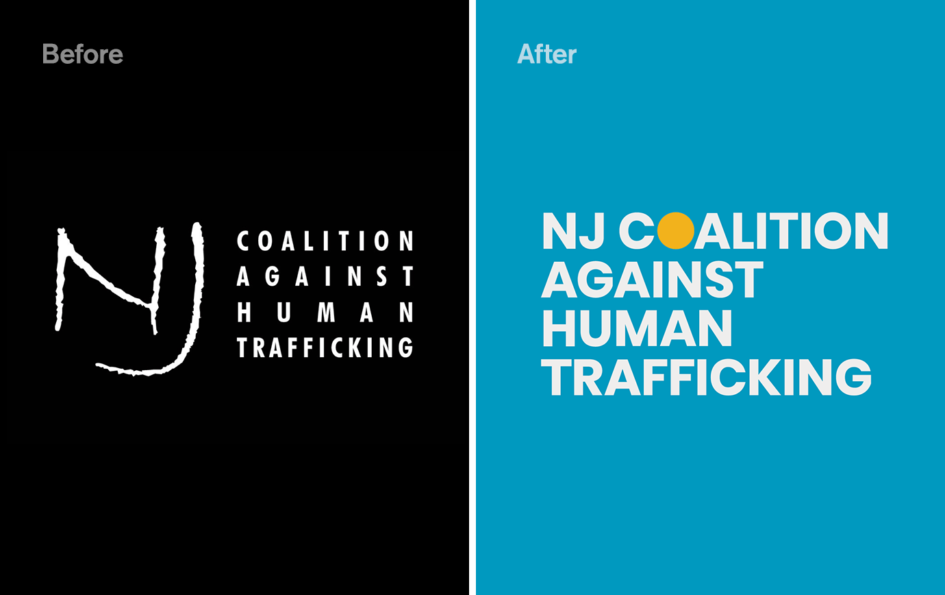 Image shows the comparison between the old and new logo for NJCAHT. The former is on a black background and the new on a blue background.