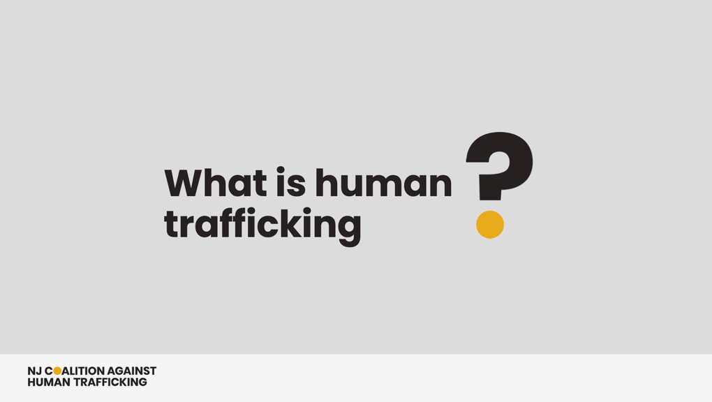 PowerPoint slides outlining what human trafficking is, where it takes place in the world, and how to prevent it.
