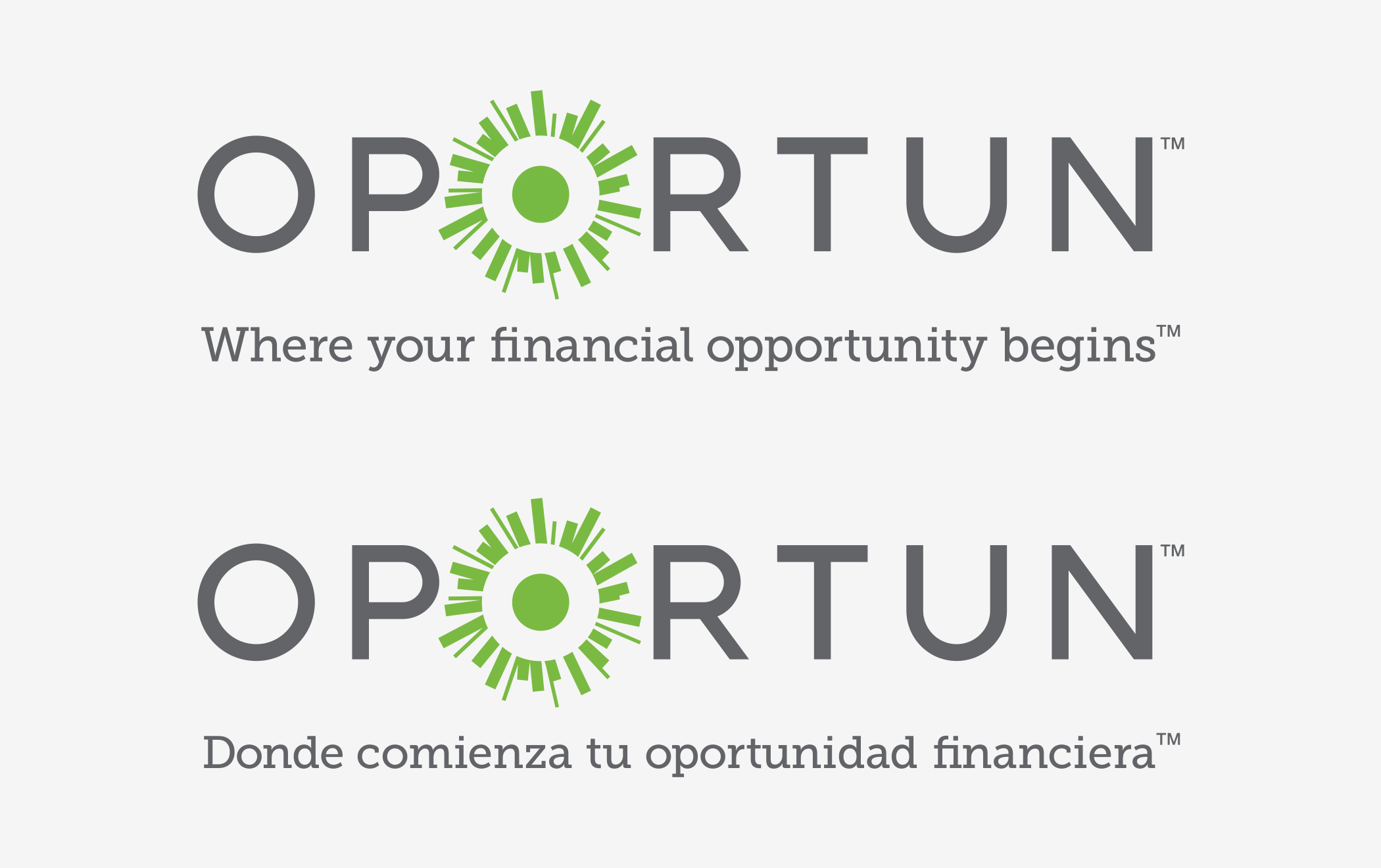 "The Oportun logotype and green-sun symbol with the phrase ""Where you financial opportunity begins,"" in English and Spanish."