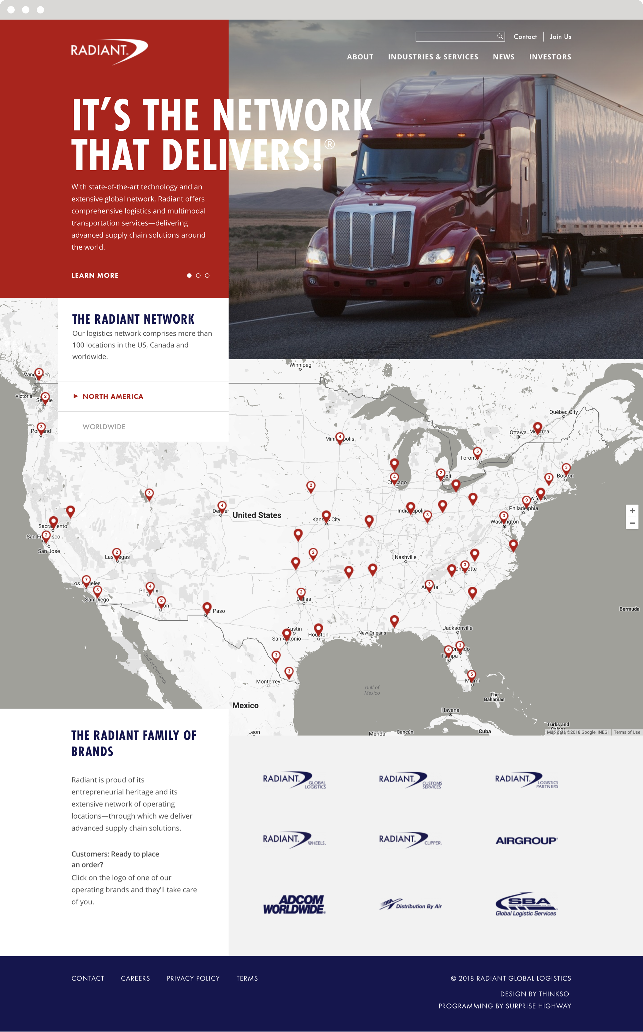 "The Radiant website homepage with headline, ""It's the network that delivers!"" and an image of semi truck on a desert highway."