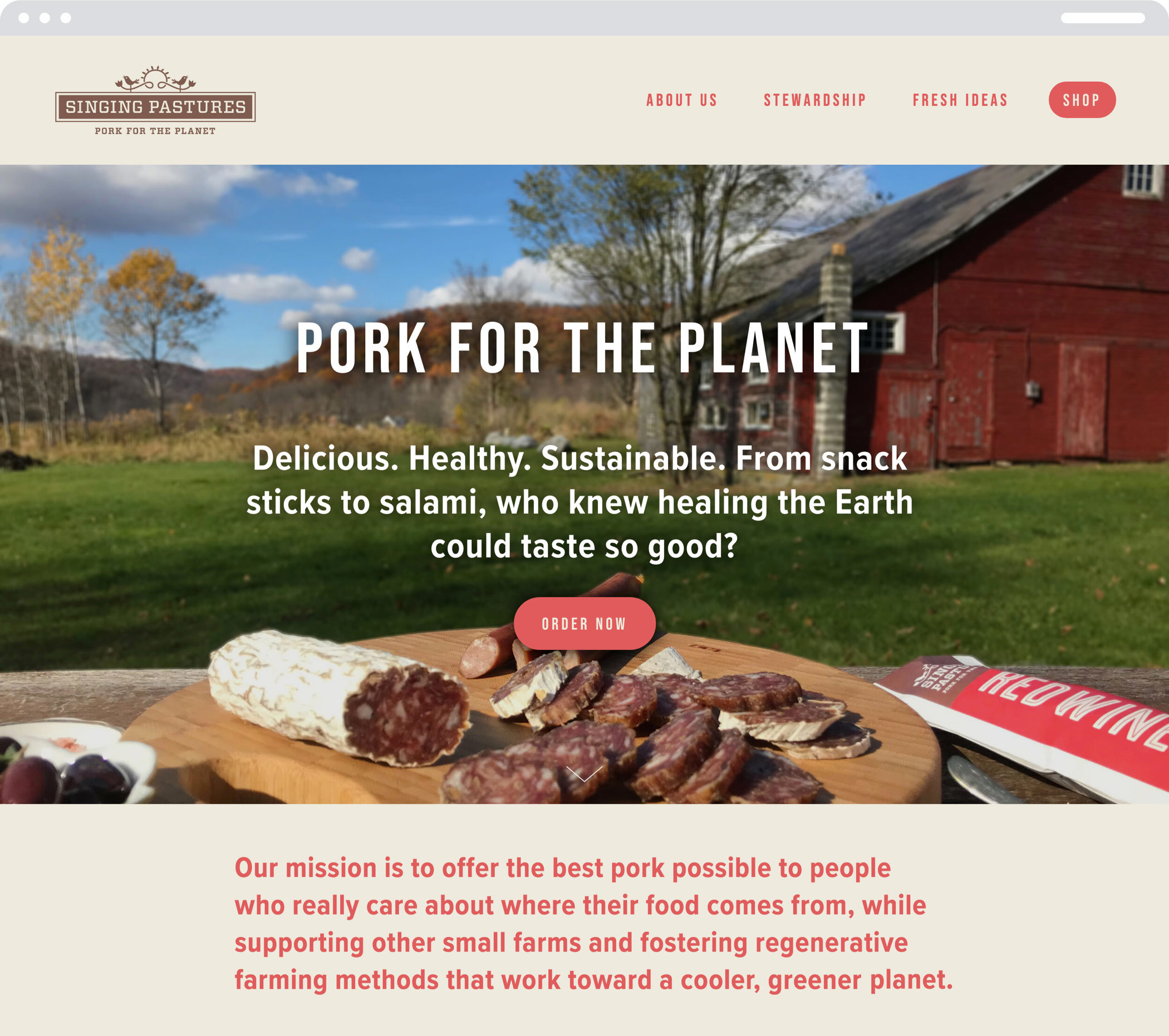 "The Singing Pastures Web homepage with the headline ""Pork for the planet"" and information about the company and its products"