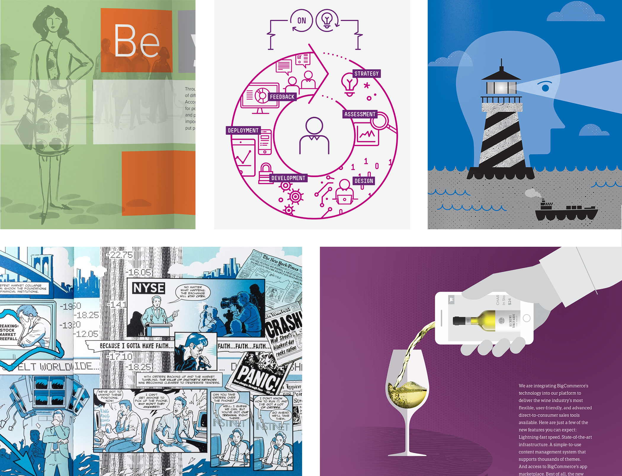 A collection of illustration images from various companies