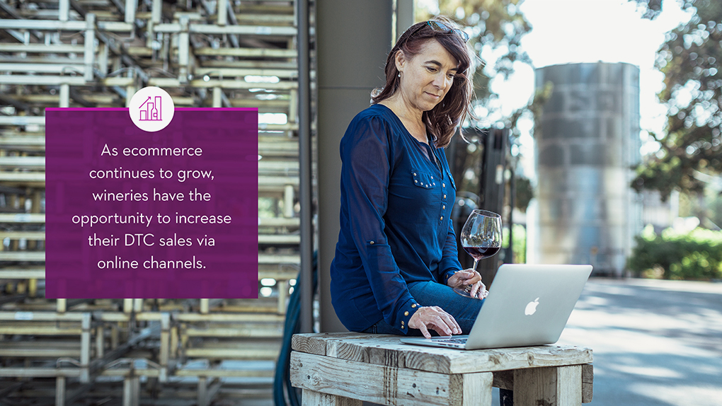 Interior spread from Wine Direct Trend Report showing a woman drinking wine in front of a laptop