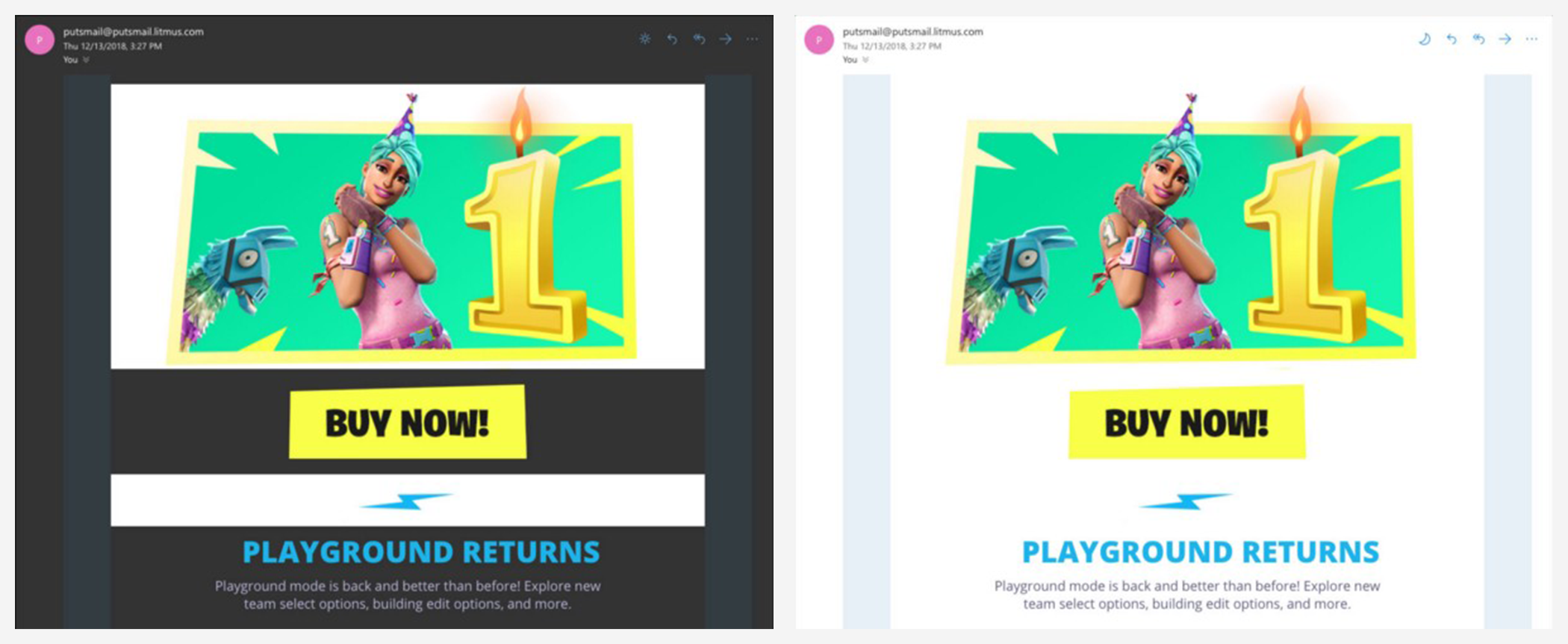 Image showing the comparison between an ad in dark mode and light mode.