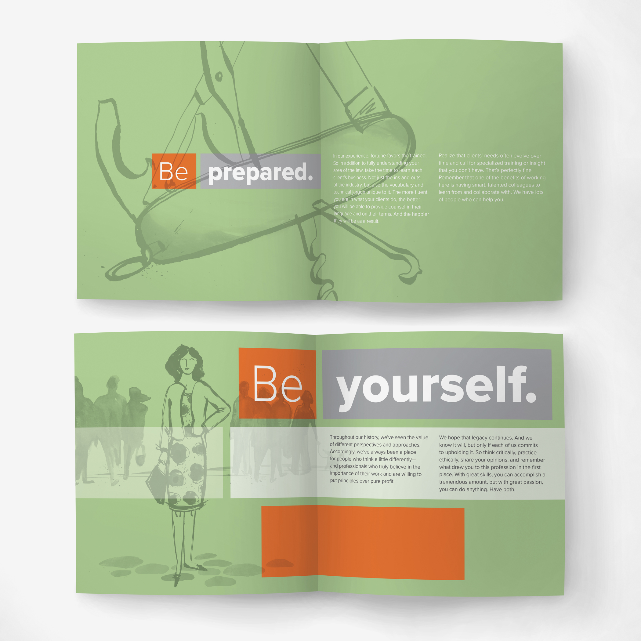 """wo sets of inside pages from the Bernstein Shur brand spirit booklet with the headlines """"Be prepared"""" and """"Be yourself."""""""