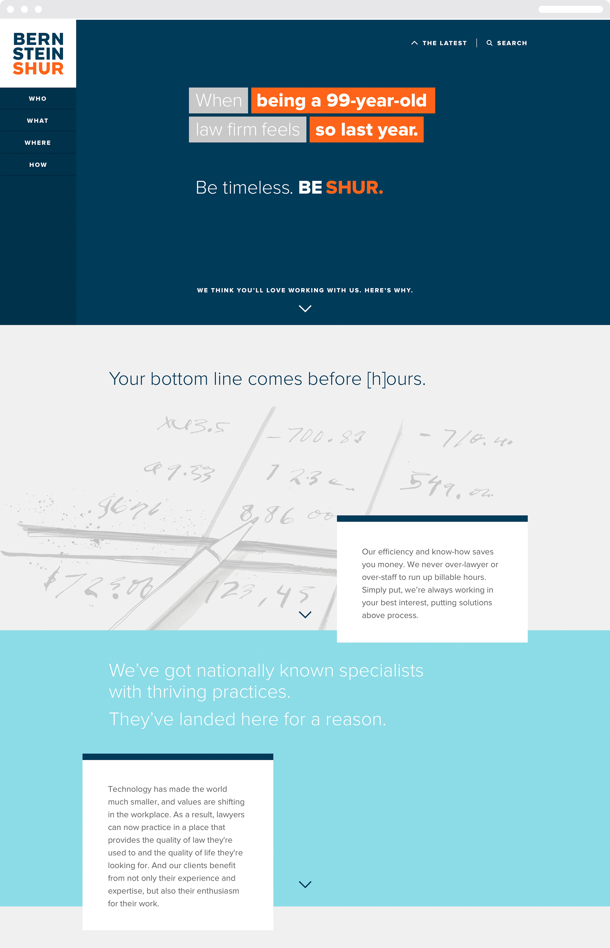 """The colorful Bernstein Shur web homepage with the headline """"When being a 99 year old law firm feels so last year."""""""