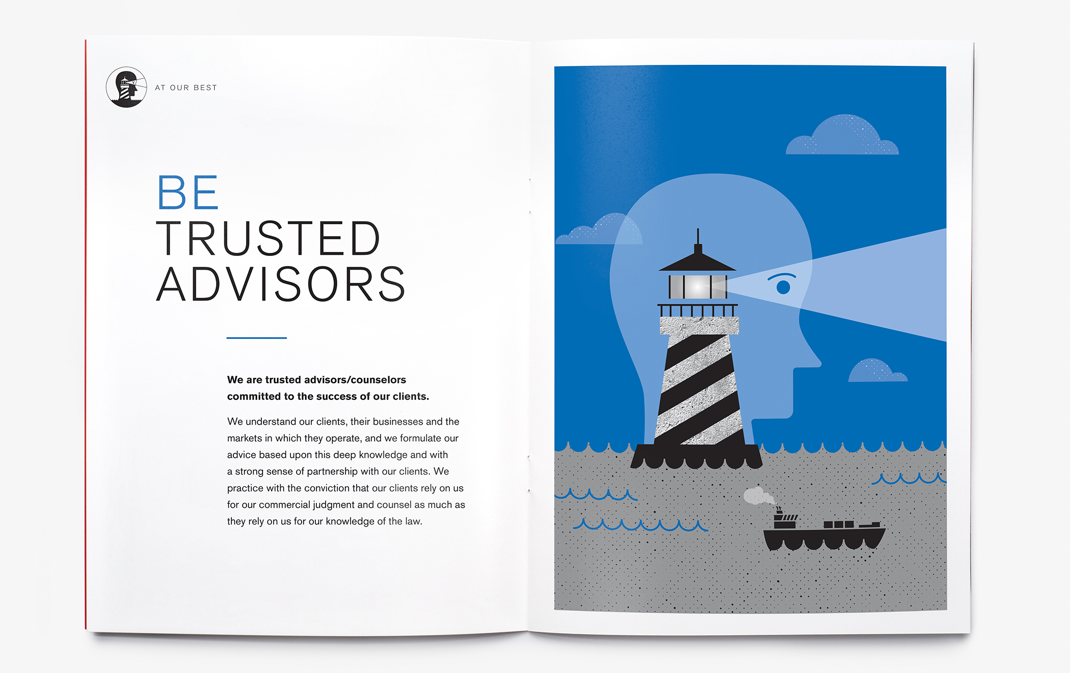 """Illustrated interior pages of the Cadwaleder """"At Our Best"""" employee brochure with the headline """"Be Trusted Advisors."""""""