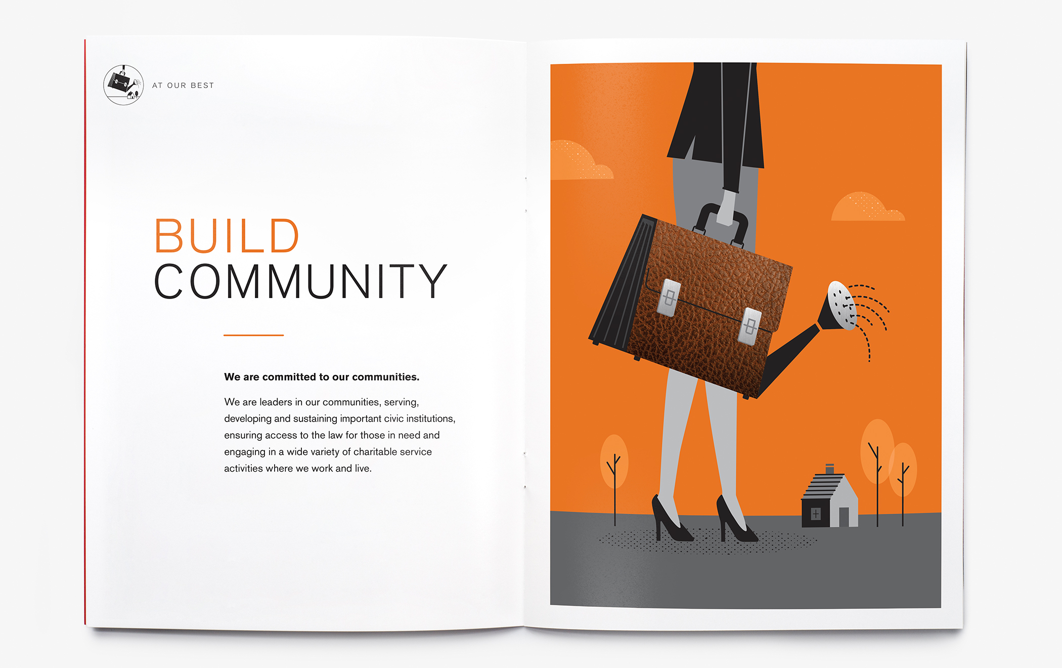 """Illustrated interior pages of the Cadwaleder """"At Our Best"""" employee brochure with the headline """"Build Community."""""""