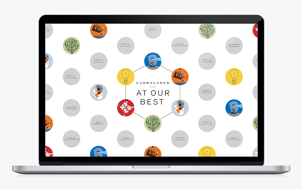 """Laptop screen saver with circular illustrations and inspirational messages from the Caldwaleder """"At our best"""" brochure."""