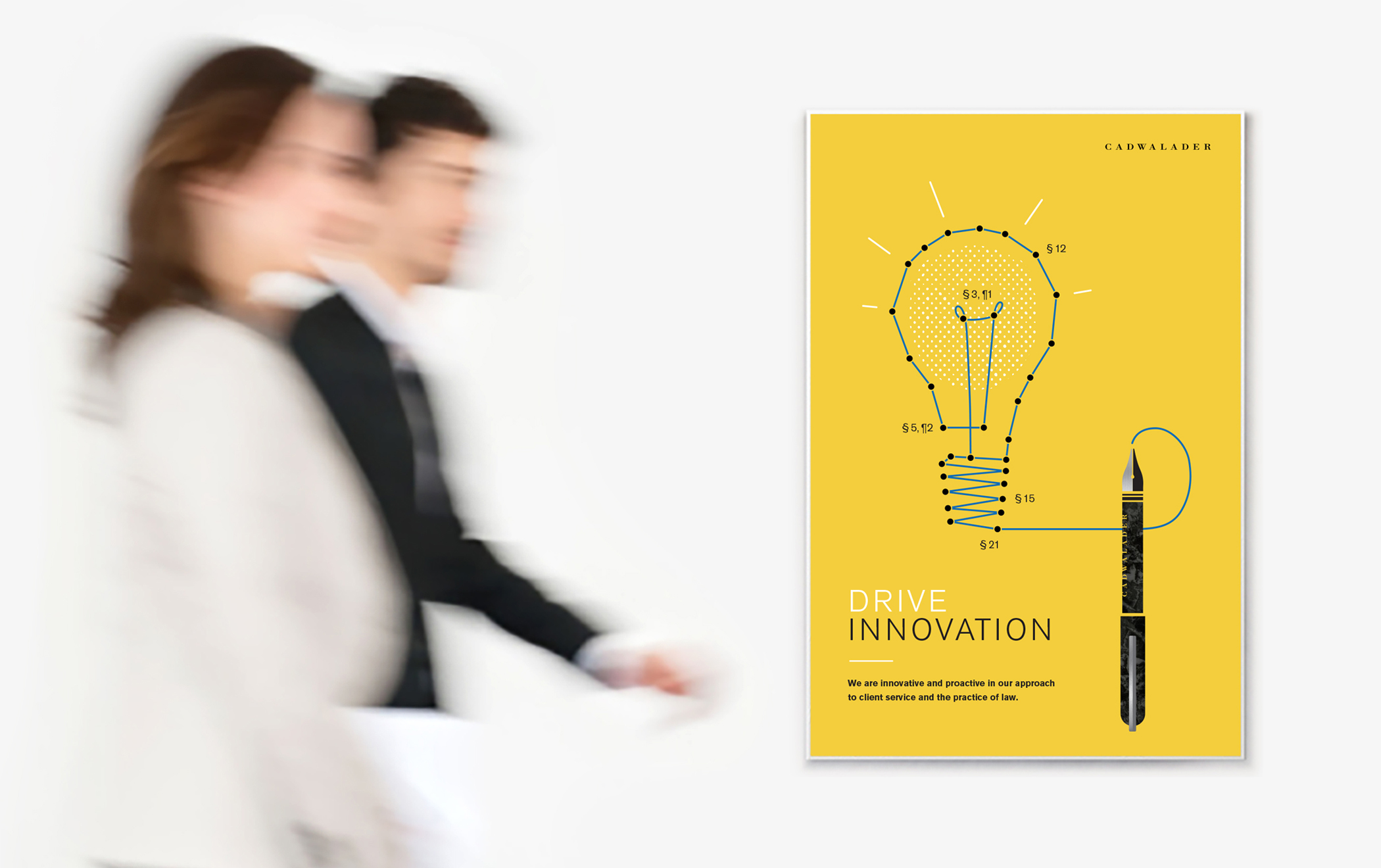 """A poster with a connect-the-dots illustration of a light bulb and quill ink pen. Large type reads, """"Drive innovation."""""""