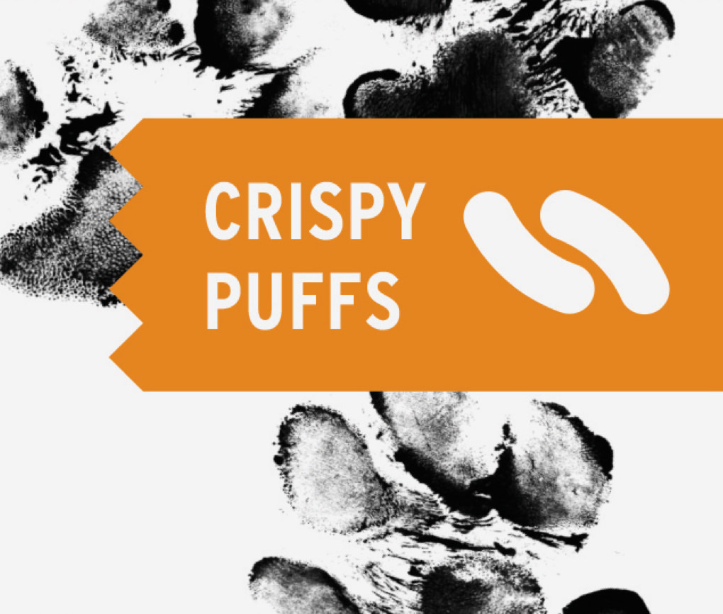 Close up of Dogs Love Us Crispy Puffs package with treat-shaped illustration and inked paw prints in the background.