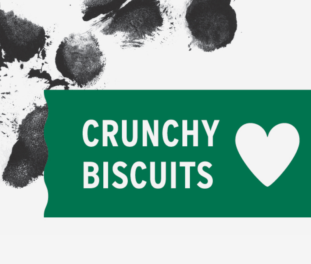 Close up of Dogs Love Us Crunch Biscuits package with heart-shaped illustration and inked paw prints in the background.
