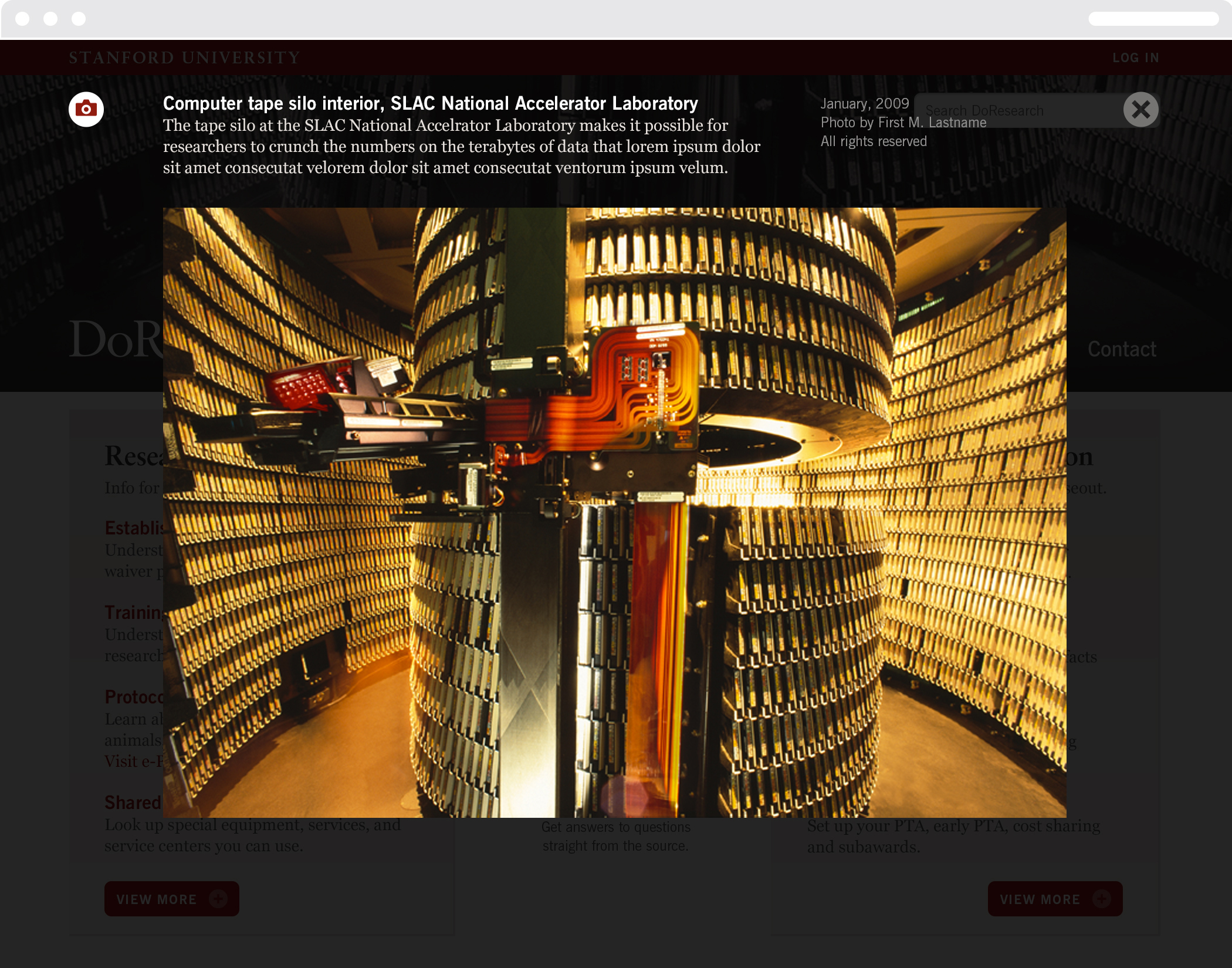 """Stanford University """"Do research"""" web page with a photo of the computer tape silo at the SLAC National Accelerator Laboratory"""