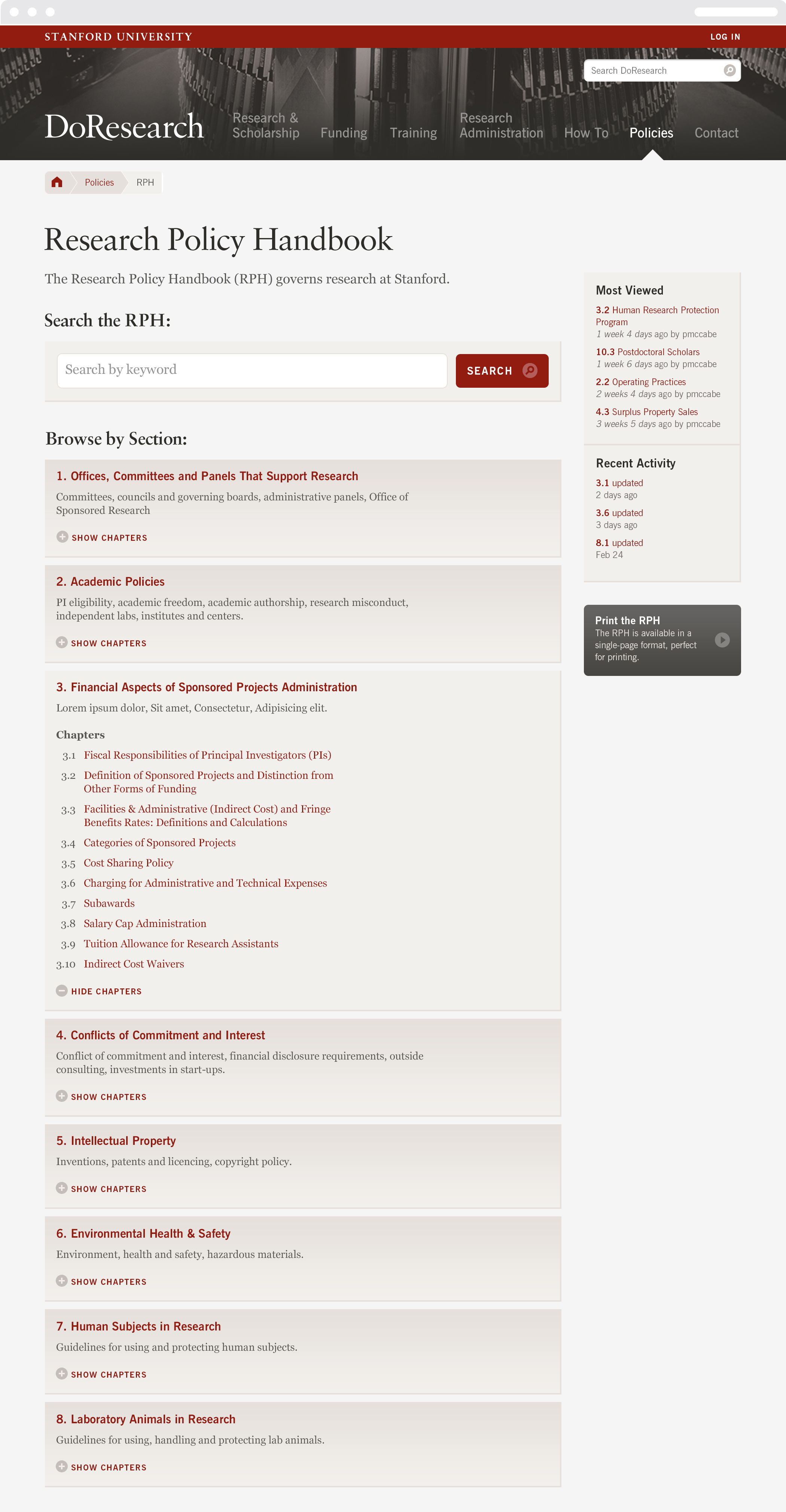 """The research policy web page on the The Stanford University """"Do research"""" portal."""