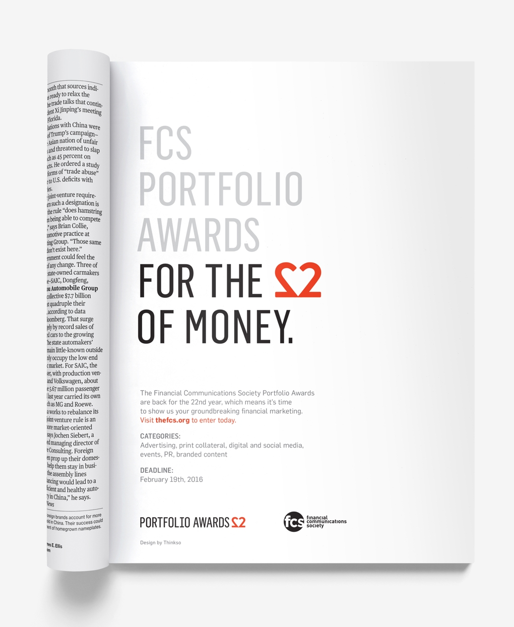 "Inside pages of the Financial Communications Society 22nd Portfolio Awards with the headline ""For the love of money."""