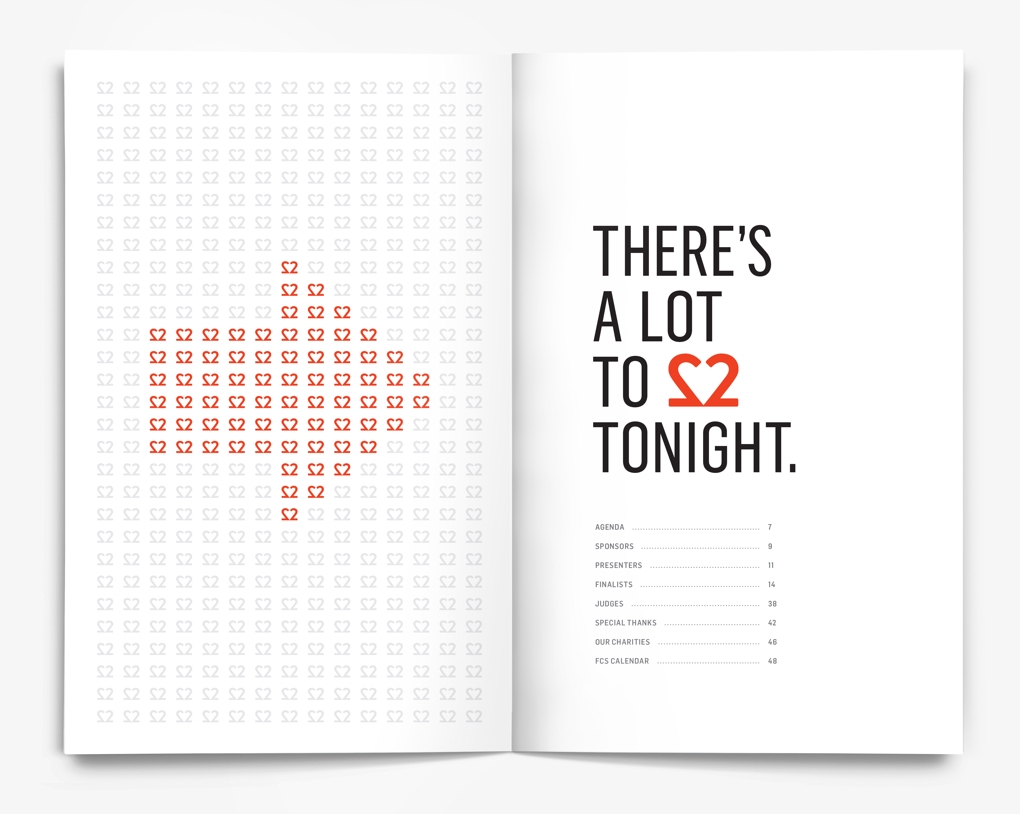 "Inside pages of the Financial Communications Society 22nd Portfolio Awards program with the text ""There's a lot to love tonight."""