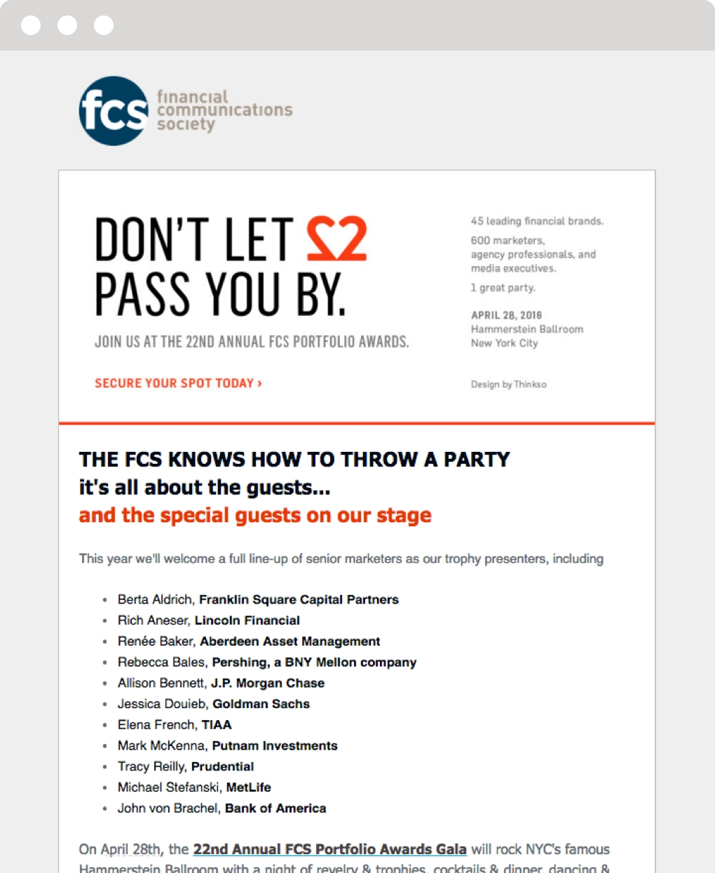"Email invitation to the Financial Communications Society 22nd Portfolio Awards with the headline ""Don't let love pass you by."""