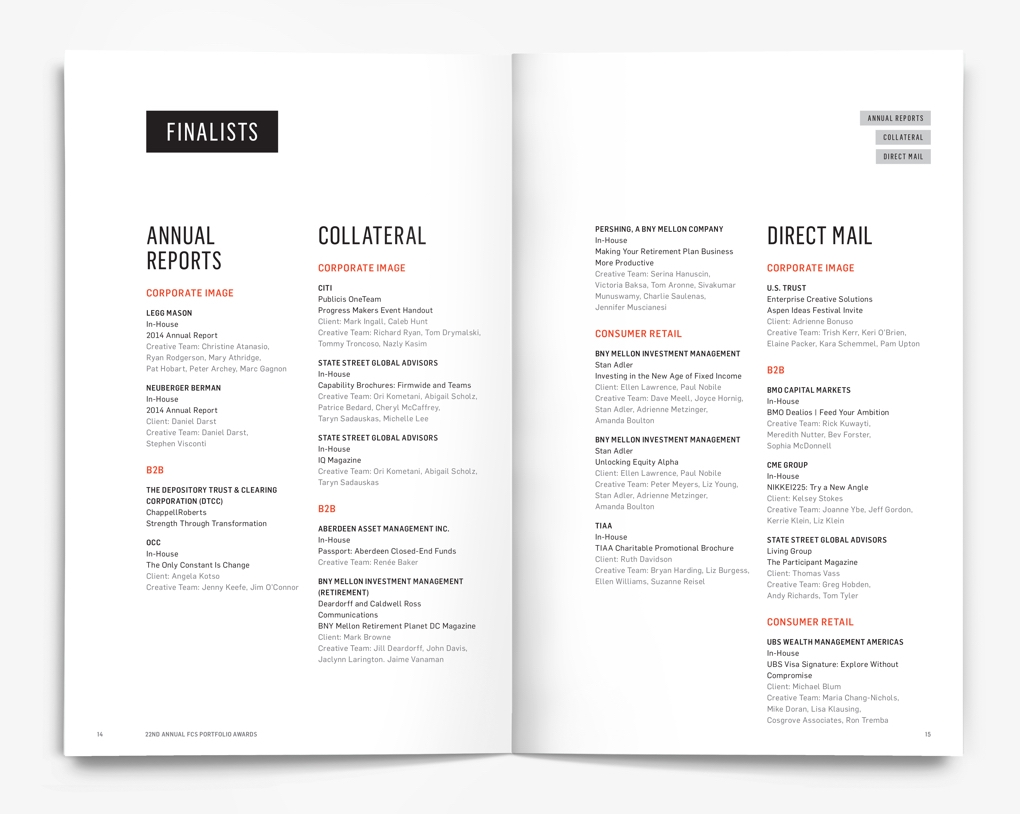 Inside pages of the Financial Communications Society 22nd Portfolio Awards program with lists of the award finalists.