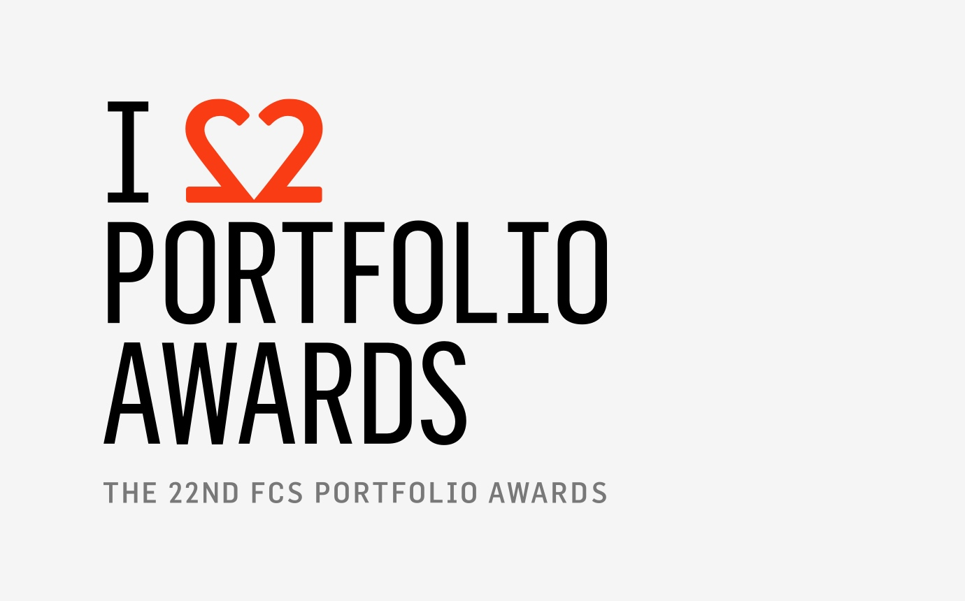 "Financial Communications Society 22nd Portfolio Awards logo with the second ""2"" in 22 reversed to create the shape of a heart."