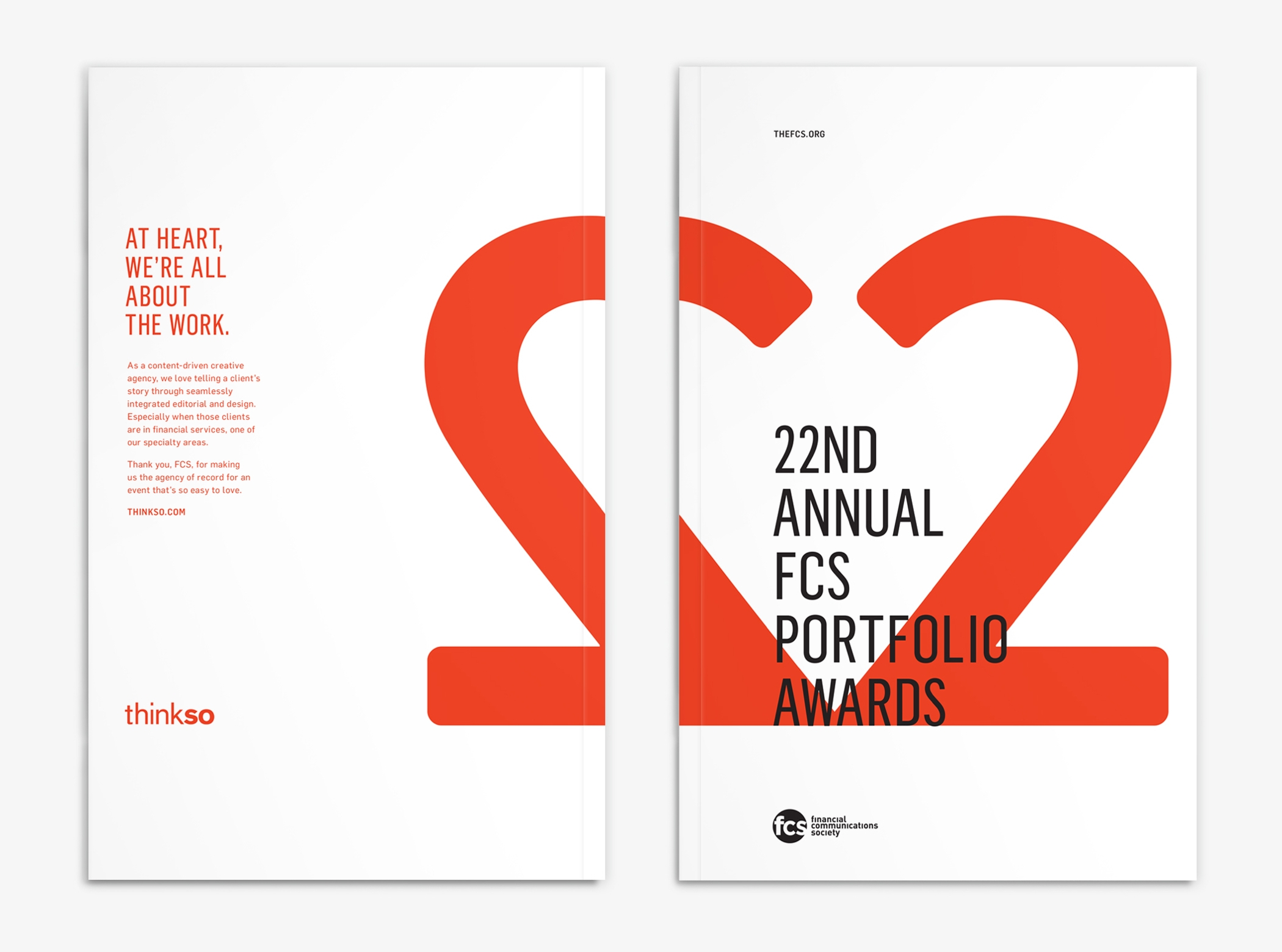 Front and back of the Financial Communications Society 22nd Portfolio Awards program.