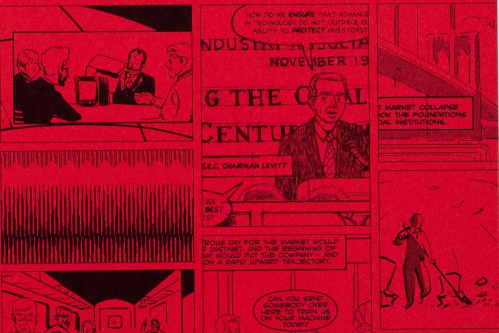 A detail from the red and black illustrated endpapers of Instinet's Fintech at Fifty graphic novel.