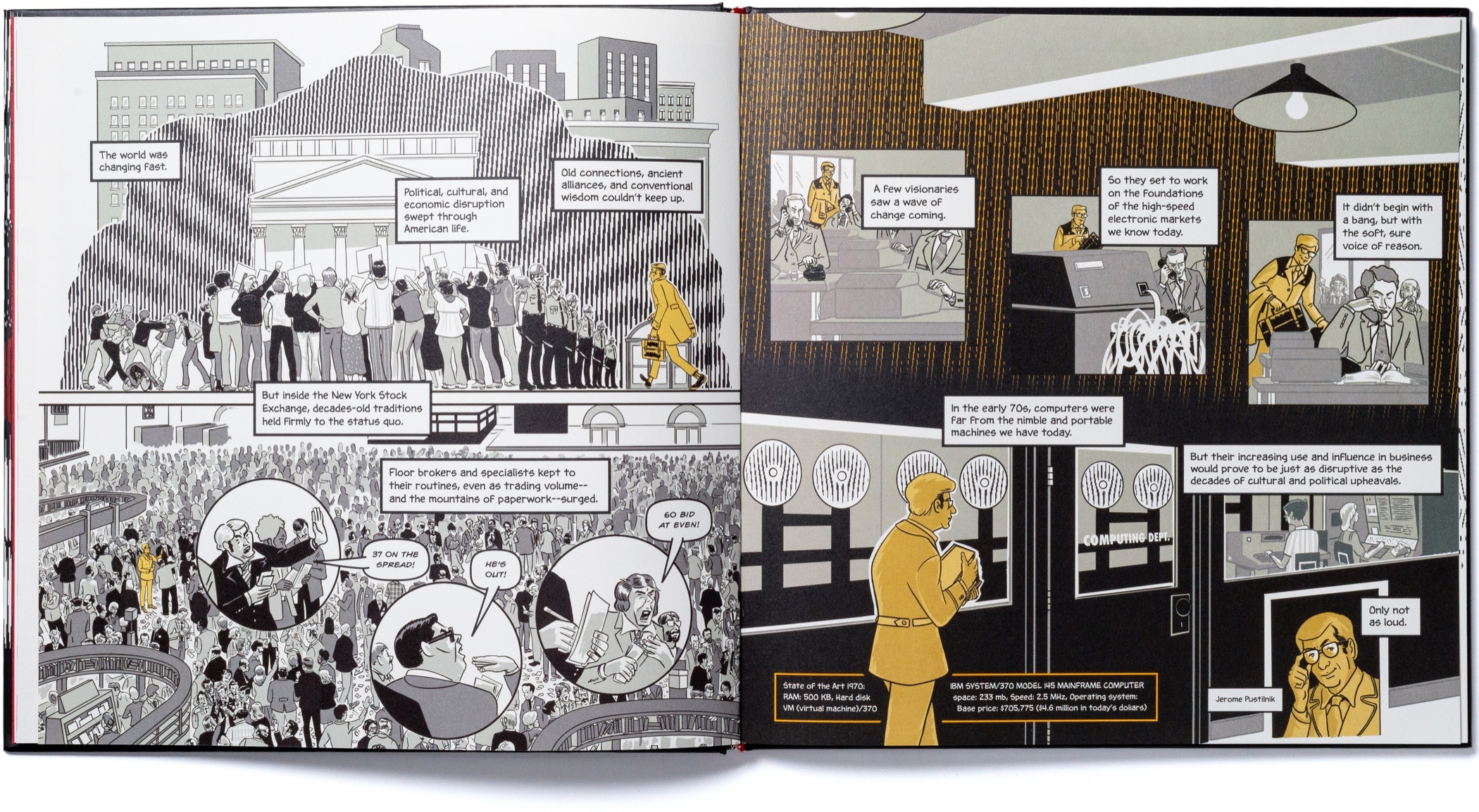 A spread of pages with scenes from the nineteen eighties chapter of Instinet's Fintech at Fifty graphic novel.