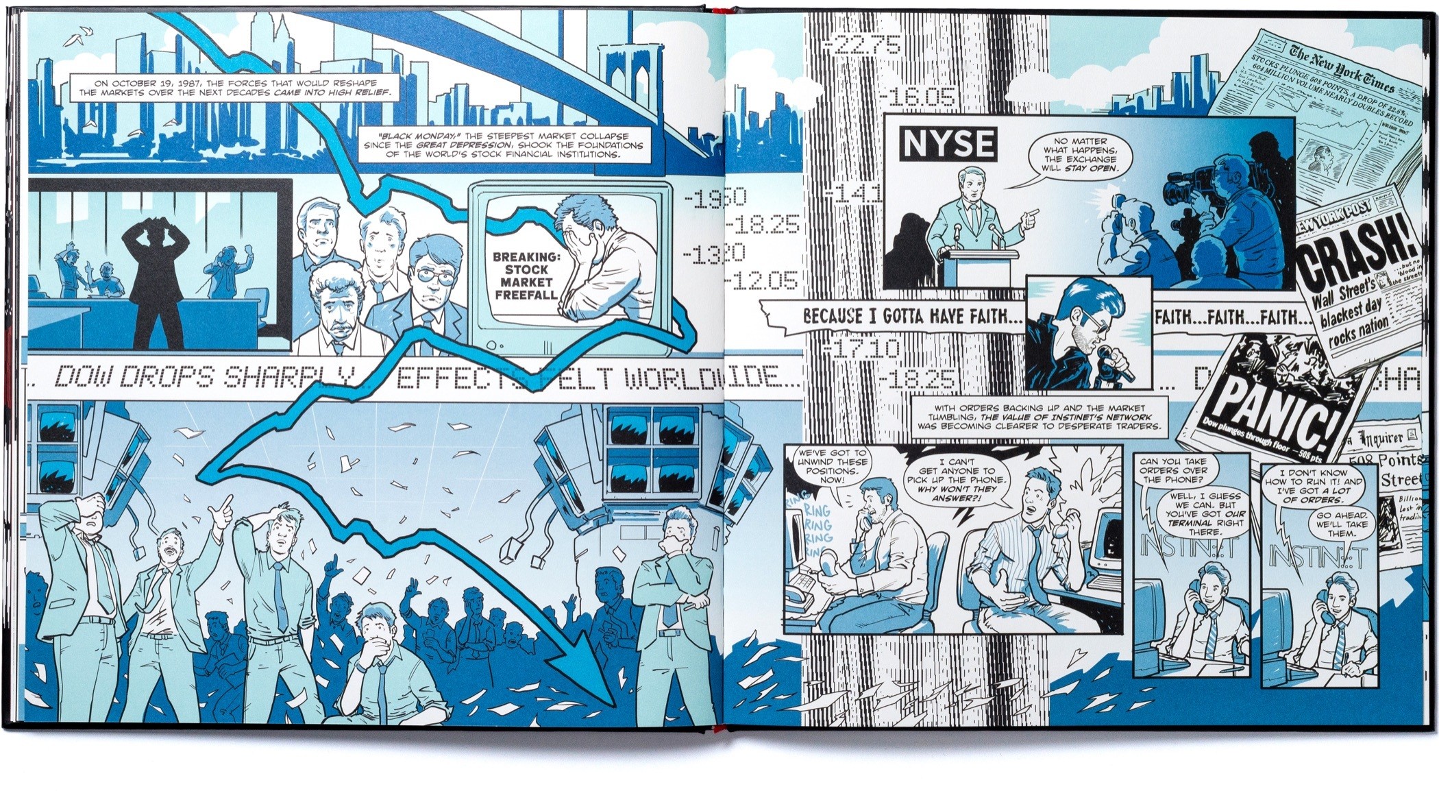 A spread of pages with scenes from the nineteen nineties chapter of Instinet's Fintech at Fifty graphic novel.