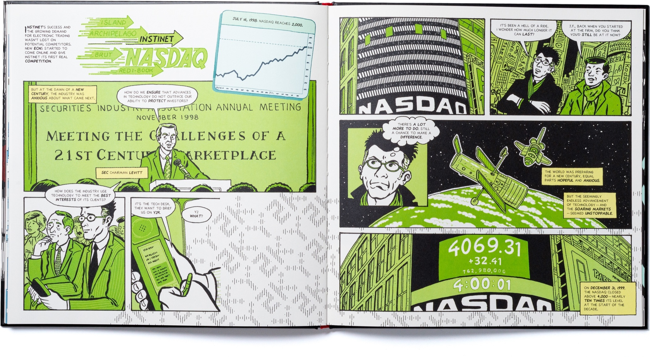 A spread of pages with scenes from the two thousands chapter of Instinet's Fintech at Fifty graphic novel.