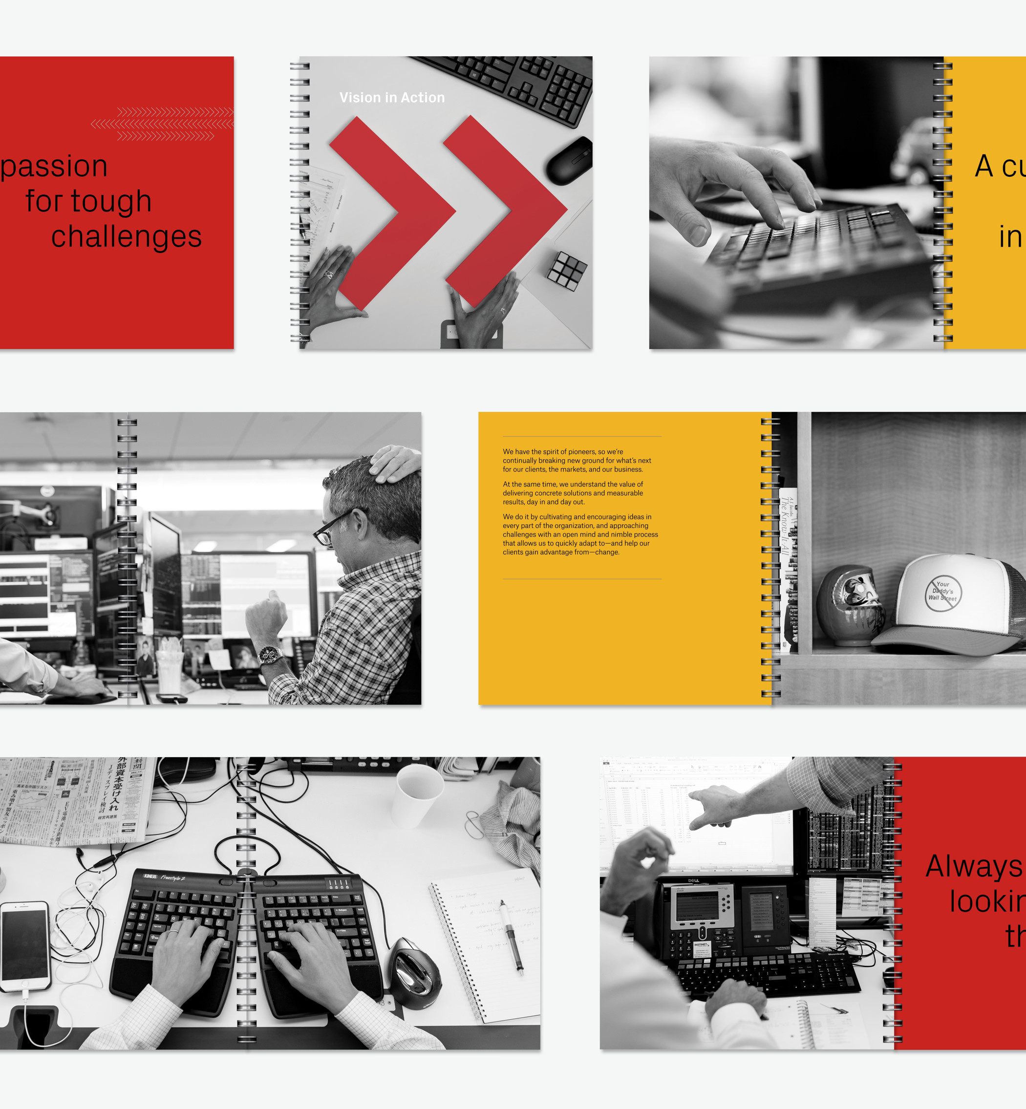 A variety of pages from the Instinet Brand Vision book showing red and yellow pages with type and black and white photos of the Instinet office environment.