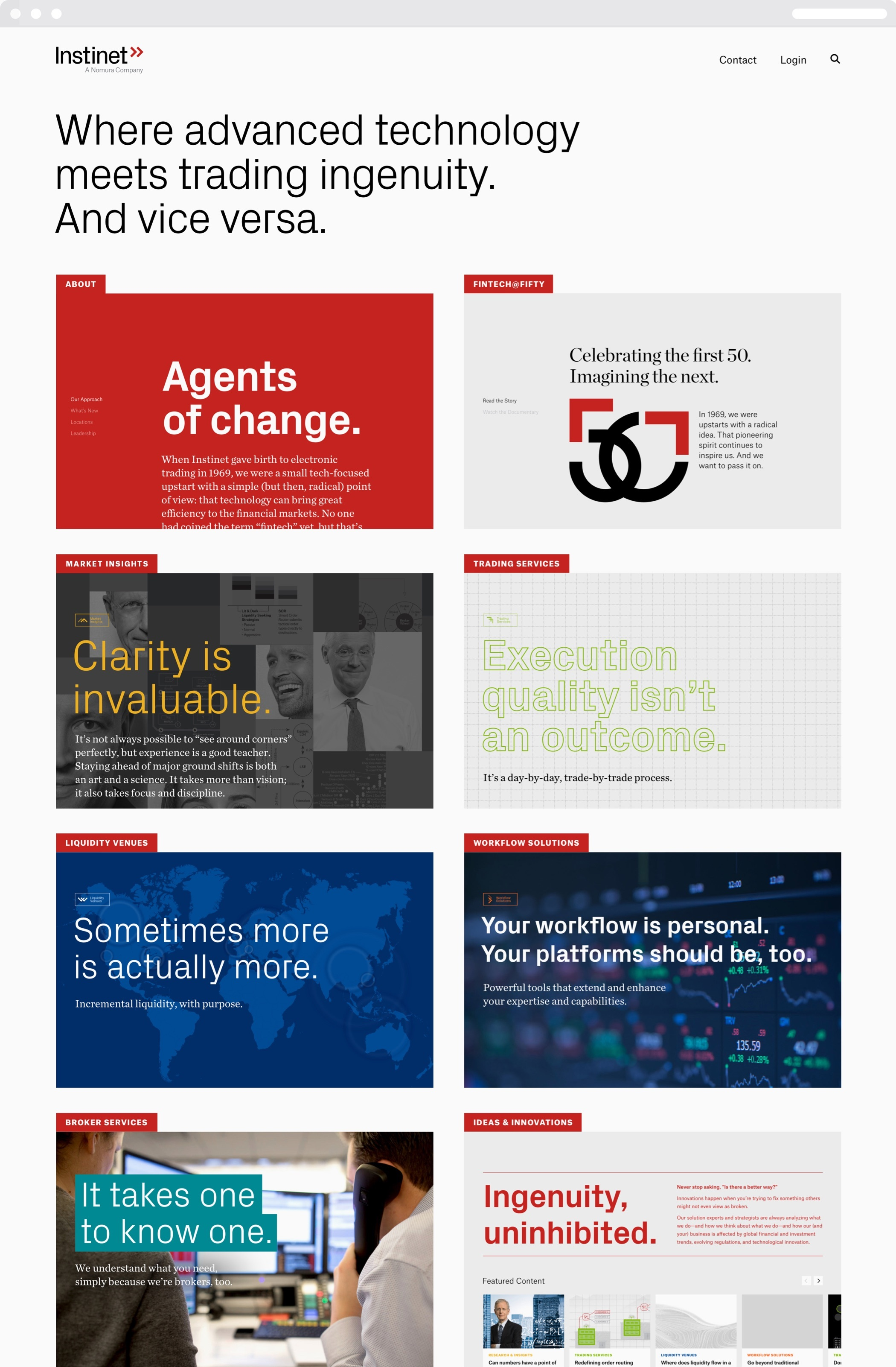 The Instinet web homepage, with thumbnails of each of the site's main pages, which feature bold type and both photographic and illustrated backgrounds.