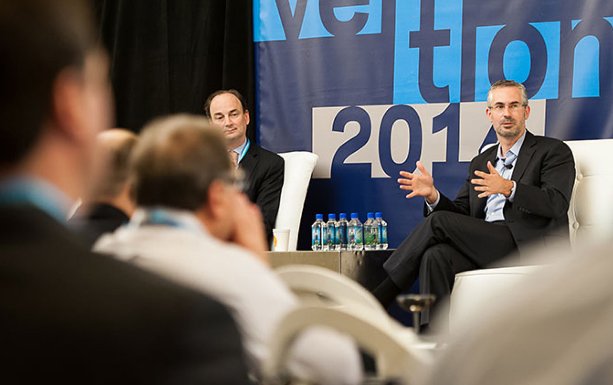 KCG CEO Daniel Coleman and Greg Tusar, head of global execution, lead a panel discussion at the 2014 KCG Uncon client event.