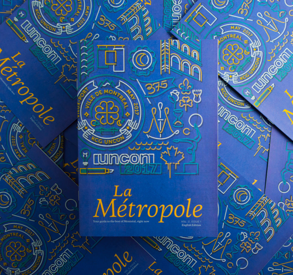 The illustrated cover of La Metropole, the 2017 KCG Uncon client event guidebook.