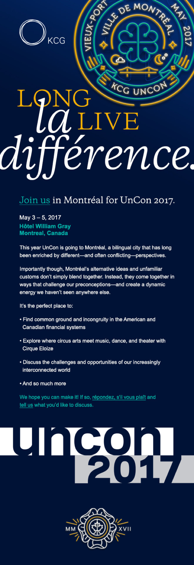 """Invitation to the 2017 KCG """"Uncon"""" client event in Montreal with the headline, """"Long live la différence."""""""