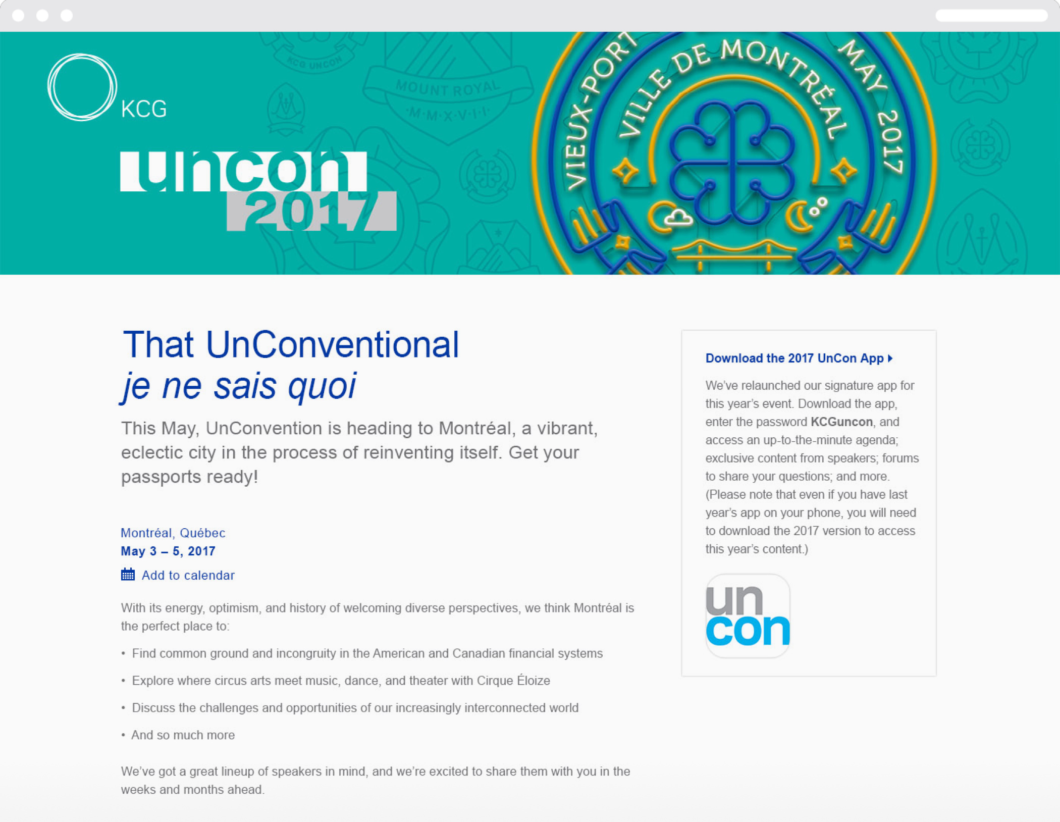 """Thinkso.com_Alt-Text_Tracker Thinkso.com_Alt-Text_Tracker 100% 10  The 2017 KCG Uncon event homepage with the headline """"That unconventional je ne sais quoi."""" and information about the event.  The 2017 KCG Uncon cevent homepage with the headline """"That unconventional je ne sais quoi."""" and information about the event. ; Cell C151        The 2017 KCG Uncon event homepage with the headline """"That unconventional je ne sais quoi."""" and information about the event."""