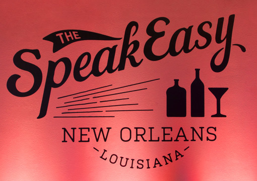 """Custom wall art for the 2015 KCG Uncon client event after hours gathering reads """"The Speakeasy, New Orleans, Louisiana."""""""