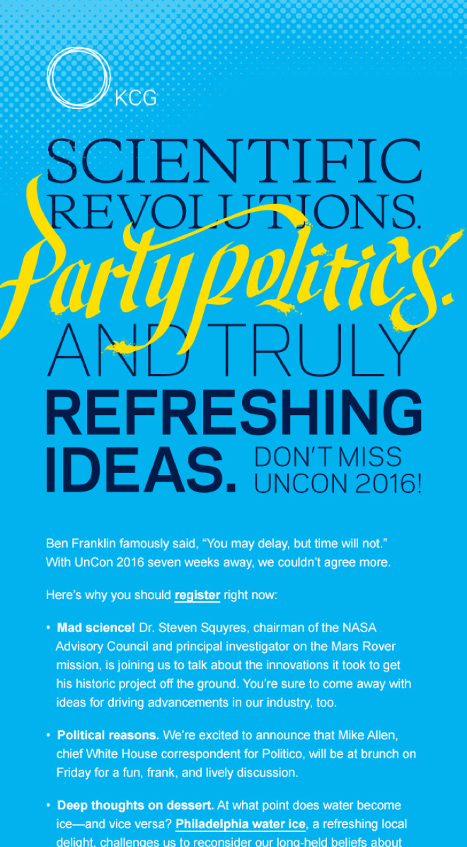 """Invite for the 2016 KCG Uncon client event that reads """"Scientific revolutions, party politics, and truly refreshing ideas."""""""