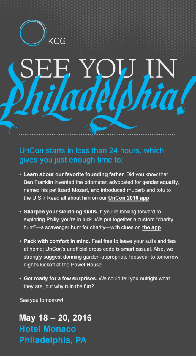"""Invite for the 2016 KCG Uncon client event with the headline """"See you in Philadelphia!"""" in ornate script."""