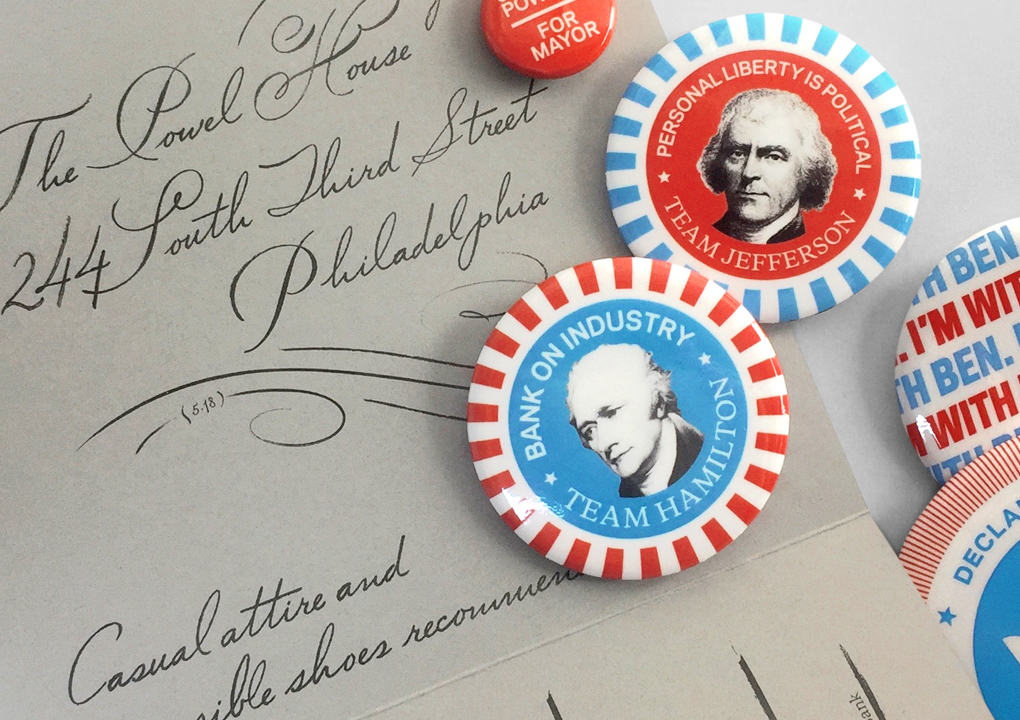 An invitation to dinner and buttons featuring images of the founding fathers for the 2016 KCG Uncon client event.