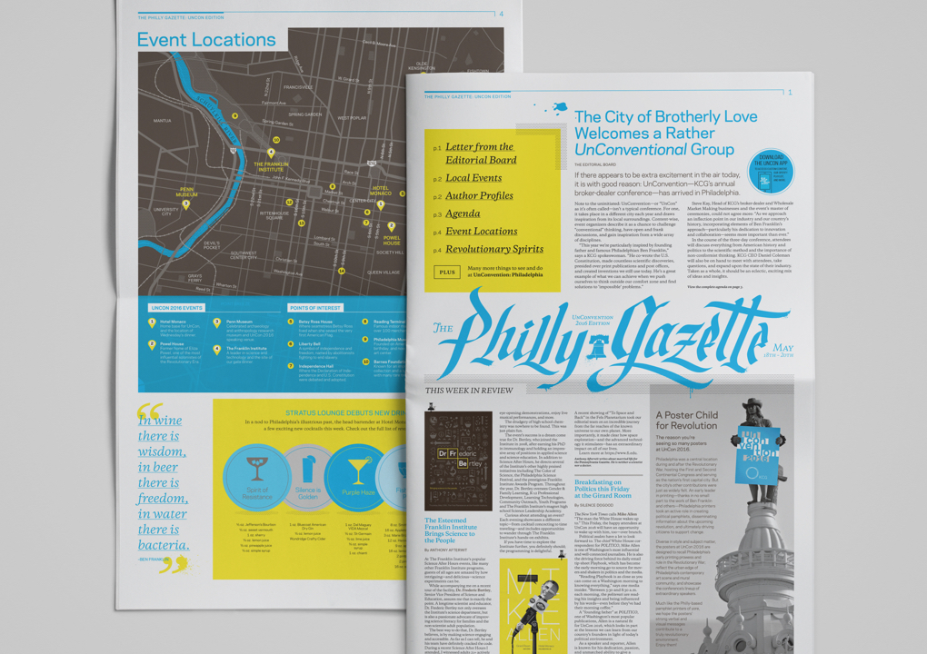 """Front and back pages of the """"Philly Gazette,"""" the newspaper-style guide for the 2016 KCG Uncon client event."""