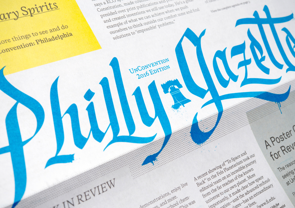 """Close up of the """"Philly Gazette,"""" the newspaper-style guide for the 2016 KCG Uncon client event."""