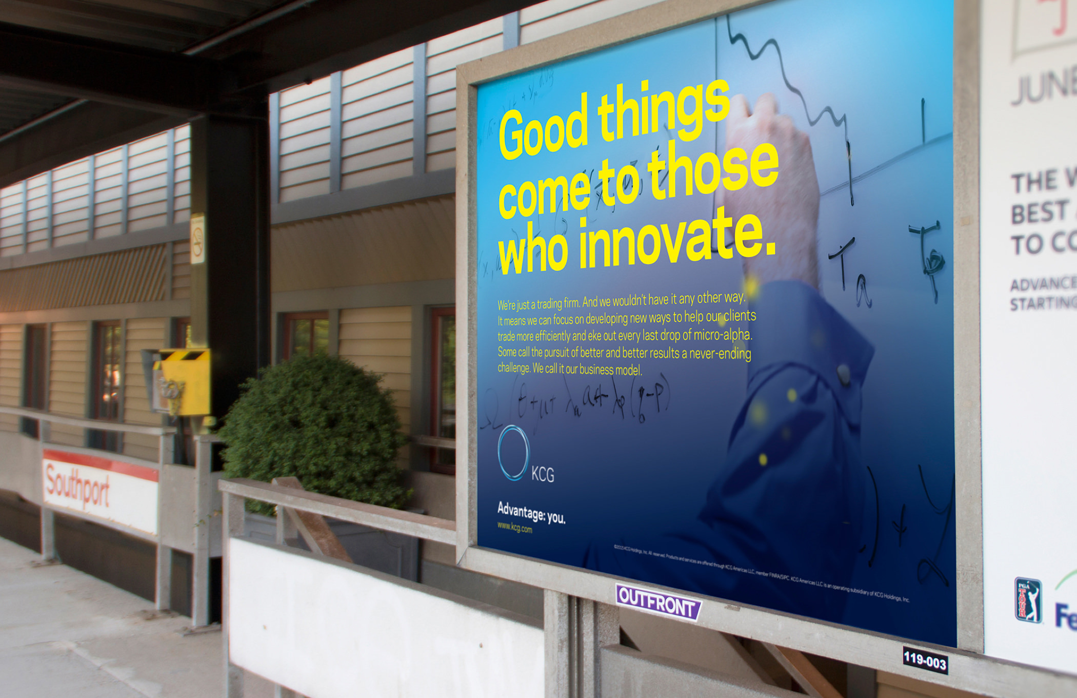 "Ad on a train platform with the headline ""Good things come to those who innovate""; image of hand writing on a whiteboard."