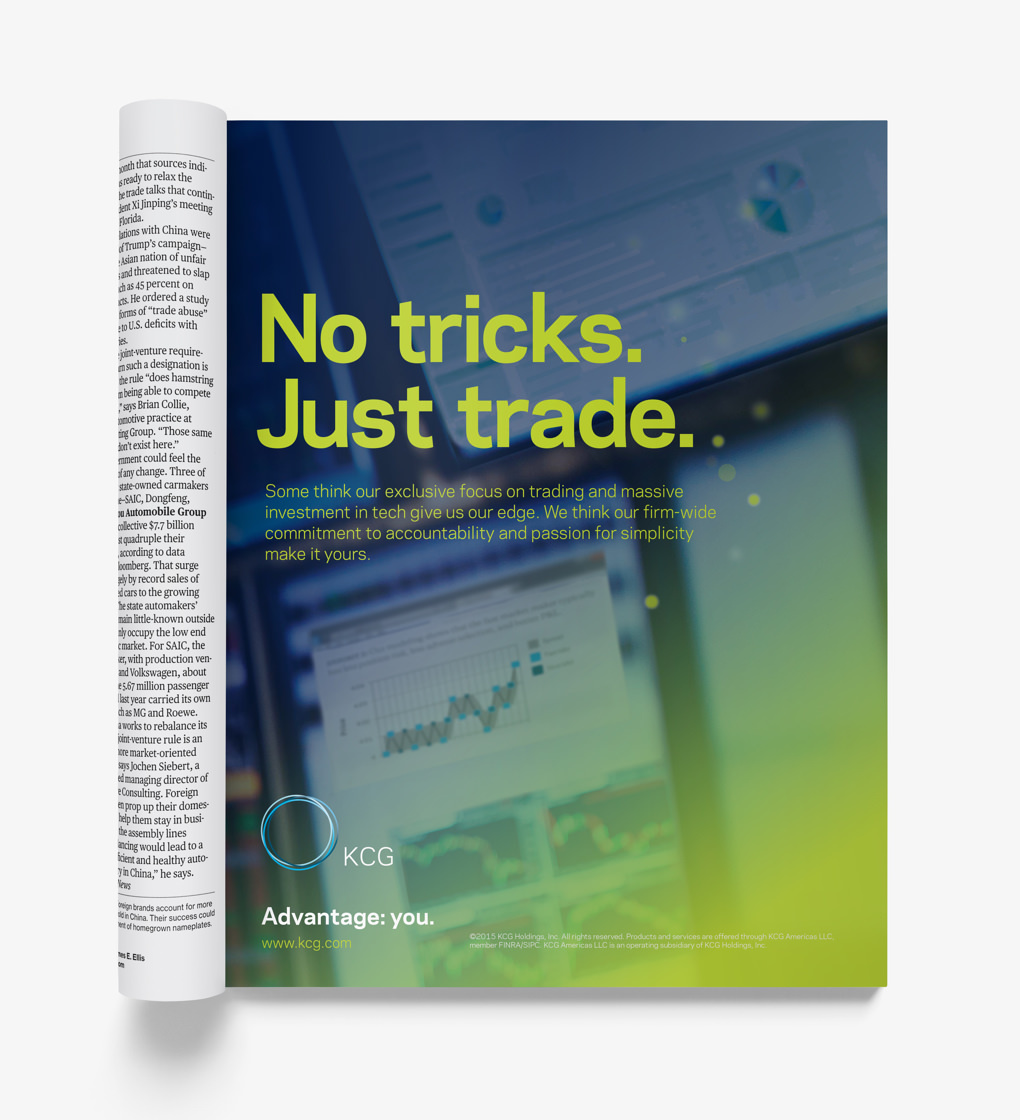 "Magazine ad with the headline ""No tricks, just trade"" over a photo collage."