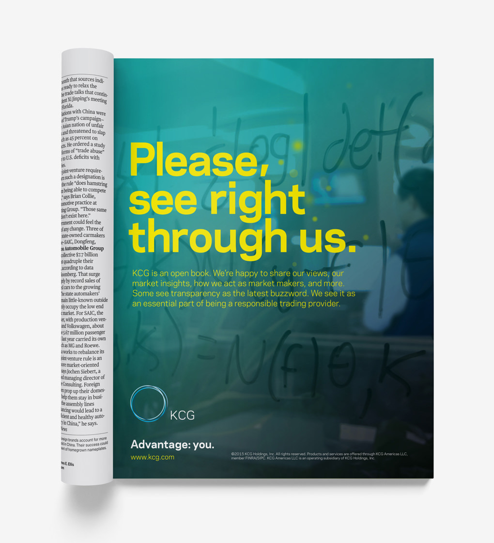 "Magazine ad with the headline ""Please, see right through us"" over a photo collage."