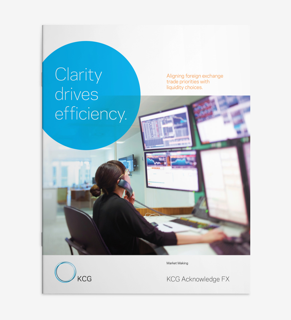 "KCG brochure cover with headline ""Clarity drives efficiency"" and a person at a computer workstation talking on the phone."