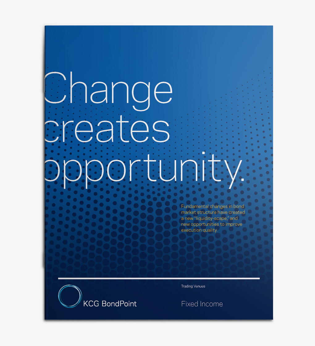 "KCG brochure cover with headline ""Change creates opportunity"" over a blue field with a black dot pattern."