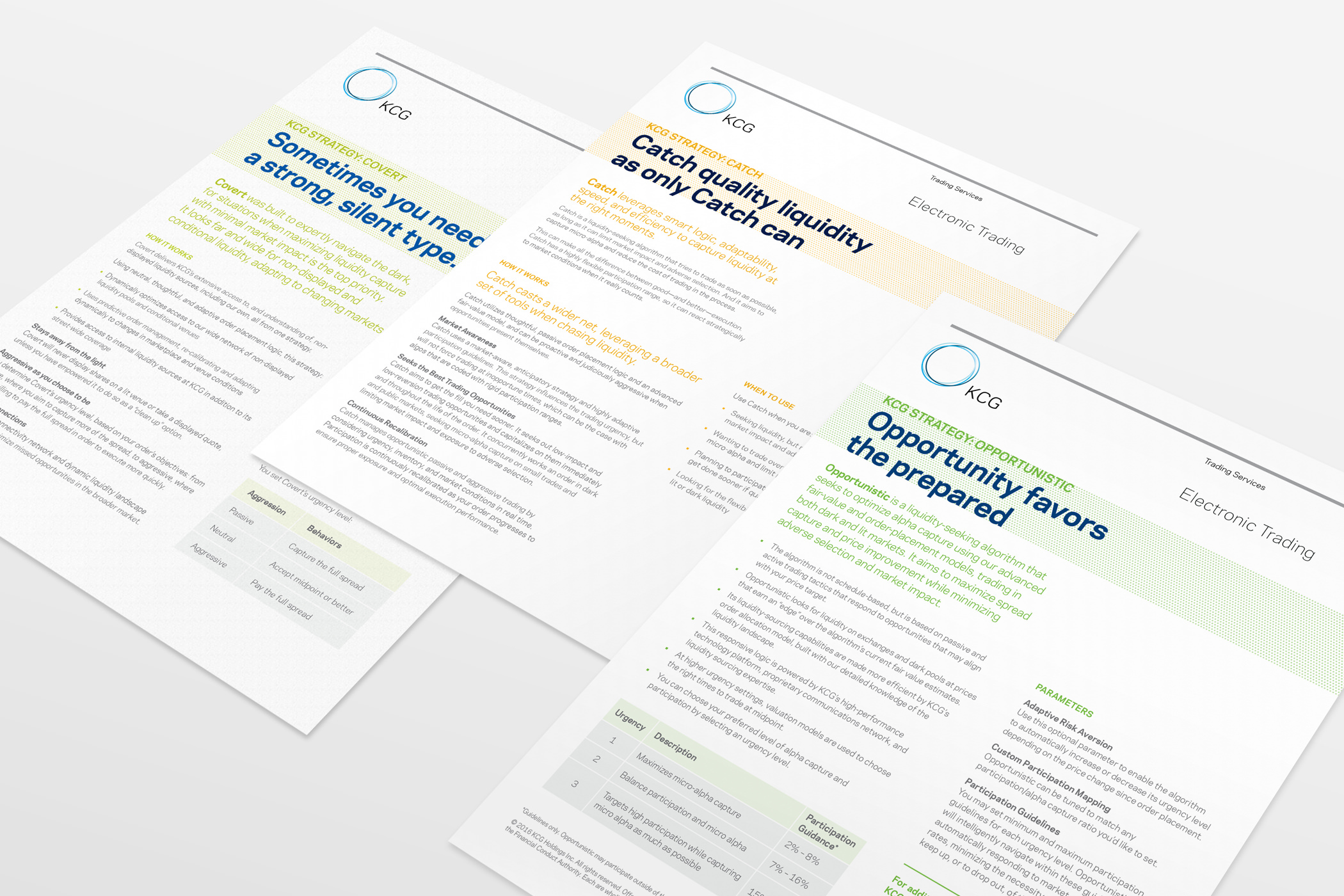 Three KCG electronic trading product sales sheets with text and charts laid out on a work surface.